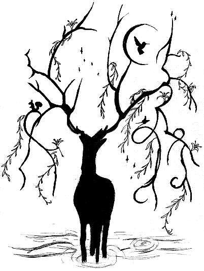Cerf avec bois végétal (Pour ce qui est de l'écureuil et du colibri : on oublie !)