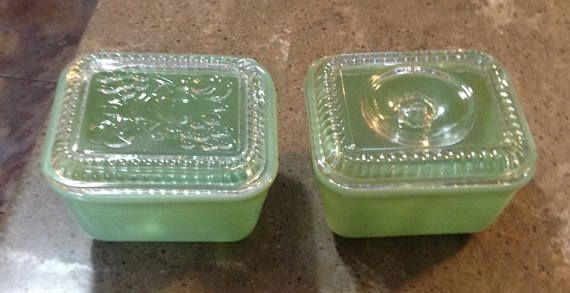 Vintage Fire King Jadeite Philbe Glass Refrigerator Dish