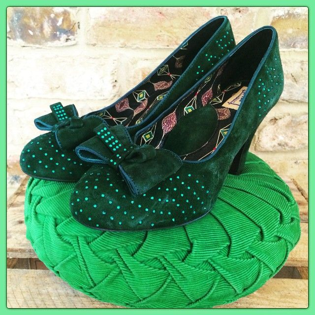 Our infamous green sparkly pumps are now back in stock online and also at @revivalretro . Grab your very own pair of our TV star #Gabrielle 's now!! #misslfire #famous #shoes #revivalretro #greenshoes #vintage #retro #pinupshoes