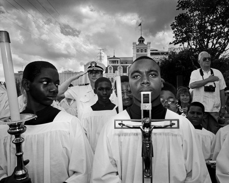 USA. New Orleans. Blessing of the Mississippi river by a catholic bishop. 1990. God Inc. USA. Pennsylvania. Washington. Procession on the Blue Army estate on God Day. September 1990. USA. Corwin Springs. The Church Universal and Triumphant, Claire Prophet. The members of this cult live in and…