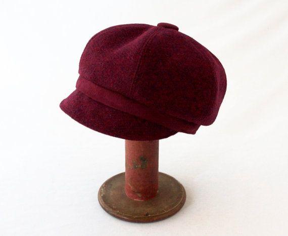 Granat Rot wolle Damen Zeitungsjunge Mütze mit von rocksandsalt