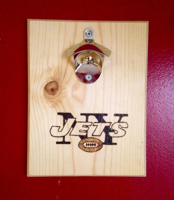 New york jets custom wood burned bottle opener with magnetic cap catcher