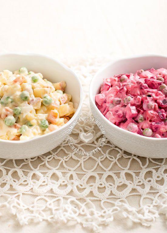 Receta Ensalada Rusa: Un cl�sico de la cocina dominicana y latina, y plato obligatorio en la cena navide�a. Existen diversas variaciones de esta receta.