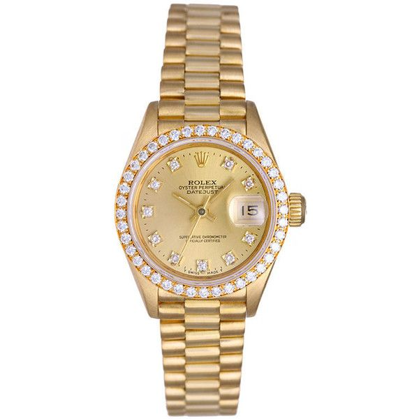 Pre-owned Rolex Watch ($9,995) ❤ liked on Polyvore featuring jewelry, watches, accessories, bracelets, apparel & accessories, brown, gold watches, brown bracelet, 18 karat gold bracelet and brown watches