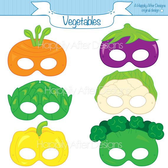 Vegetable Printable Masks, carrot mask, broccoli mask, artichoke, cauliflower…