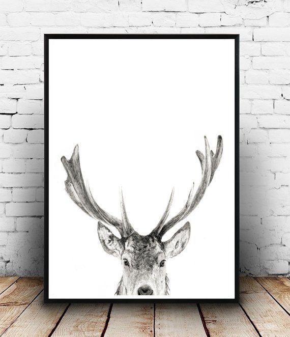 Deer Wall Art Antler Print Instant Download by honeytreeprints