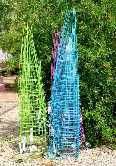 Painted Tomato Cages Add Color To The Garden Backyard