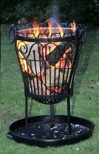 Garden / Outdoor Wrought Iron Lincoln Log Burner / Brazier / Fire Pit