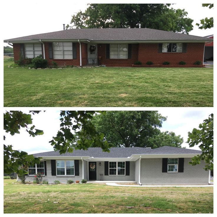 Painted exterior Ranch style house before and after. Added onto front of house and extended the porch and added a sidewalk. New windows. New roof. Sherwin Williams Ellie Gray at 110% on body, tricorn black on shutters, and extra white trim. Painted Brick