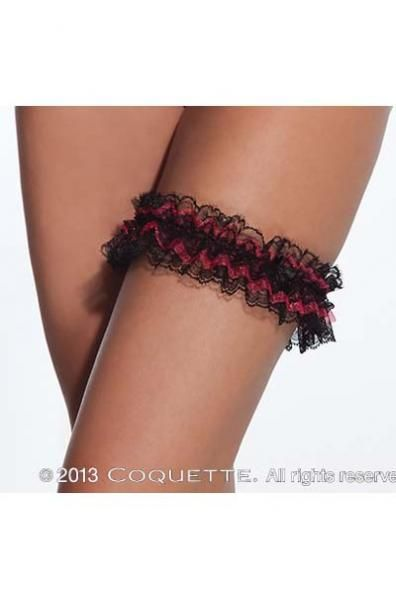Black Red Gathered Lace Leg Garter
