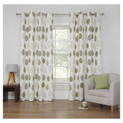 Leaf Printed Lined Eyelet Curtains - Green - 66 X 90