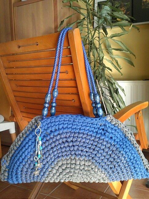 Bolso de trapillo circular azul/gris