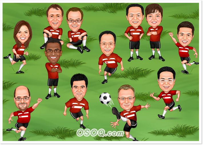 Soccer Team Playing Caricatures Caricature Sports Team Teams
