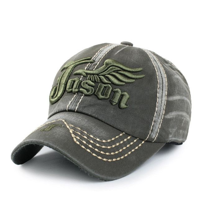 Heavy Washed Denim Jason 3D Wings Baseball Caps Sports Active Casual Hat One Size Adjustable Jeans Wear For Men Women