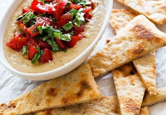Hummus Pomodoro with Warm Pizza Crust by Chloe Coscarelli