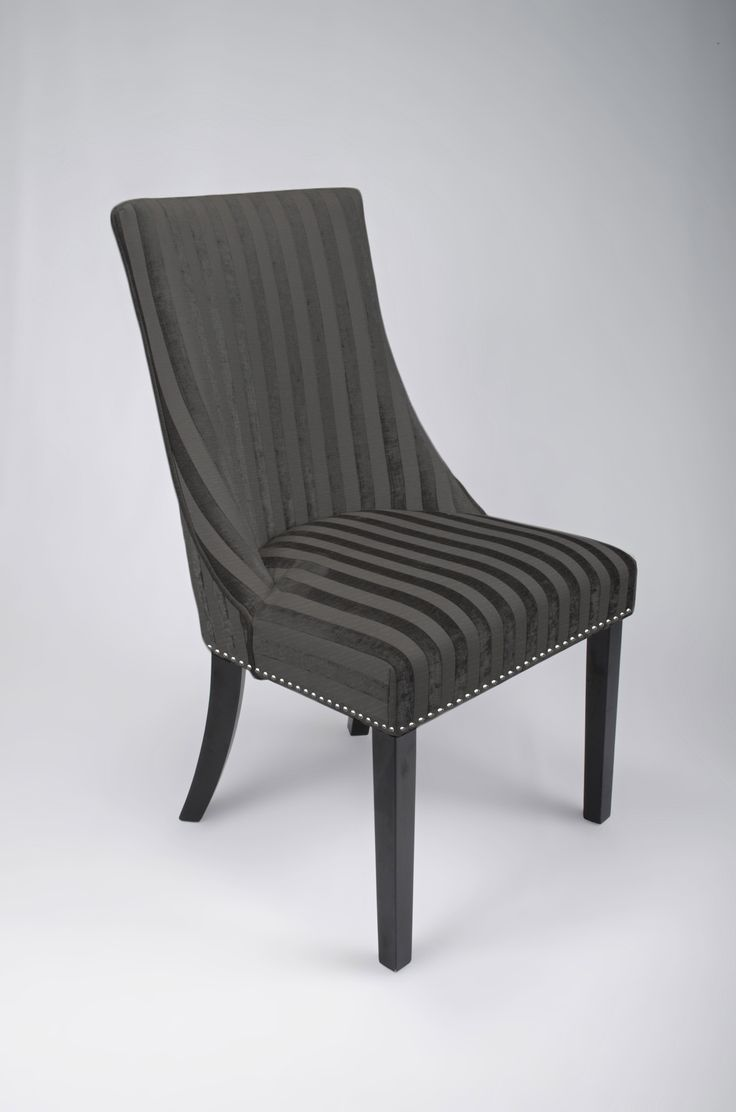Black fabric dining chairs - Balmoral Charcoal And Black Velvet Stripe Fabric Dining Chairs
