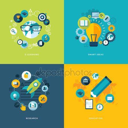 Descargar - Conjunto de iconos de concepto de diseño plano para la educación — Ilustración de stock #42870663