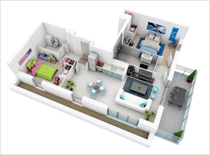 244 best 3D rooms images on Pinterest | Apartments, Floor plans and ...