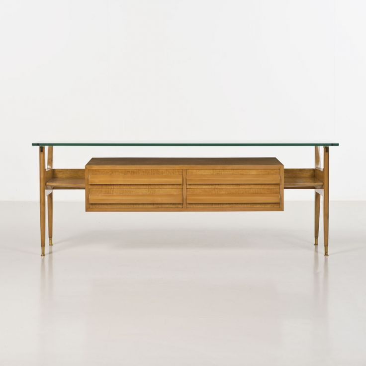 Osvaldo Borsani; Wood, Glass and Brass Console, 1950s.