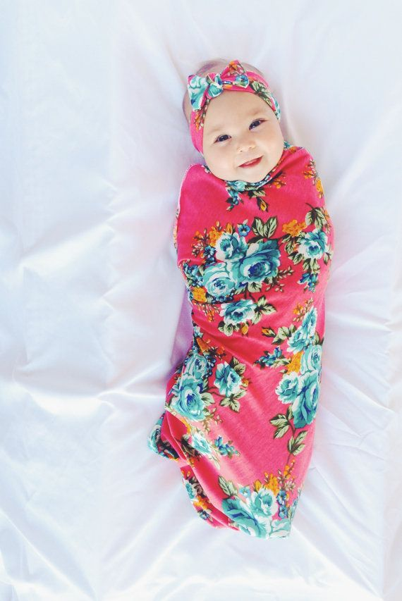 Pink Floral Swaddle Set / Swaddle Blanket and by MilkmaidGoods