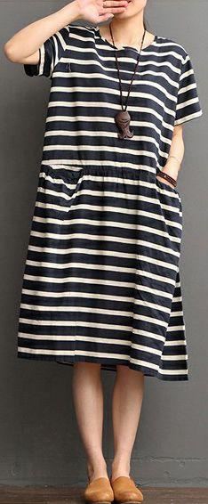 0bd177b477 blue striped linen shift dresses linen maxi dress Fine o neck short sleeve linen  dresses