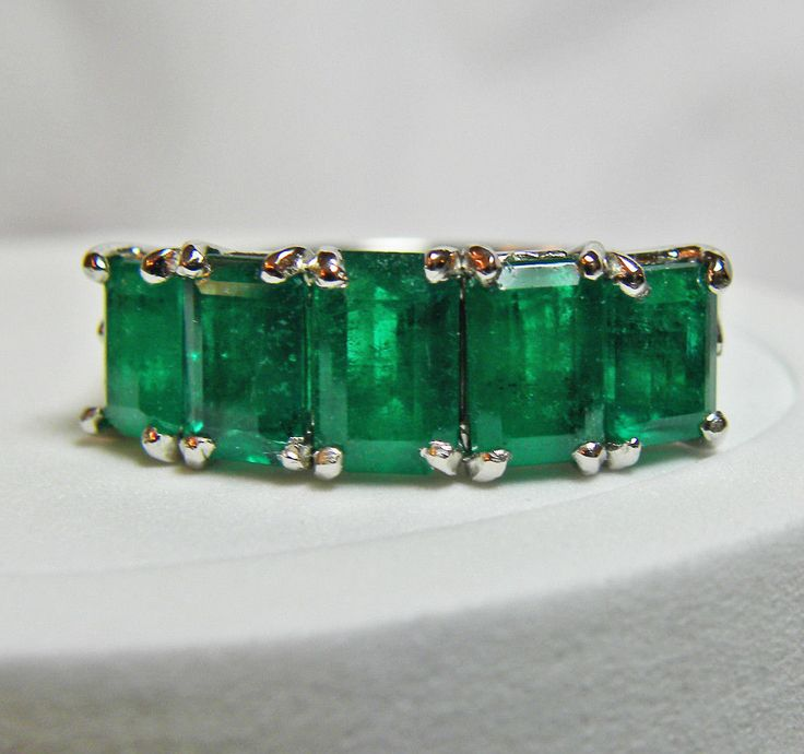 2.95ct Platinum Estate Gorgeous Natural AAA+ Color Colombian Emerald Band Ring | SOLD