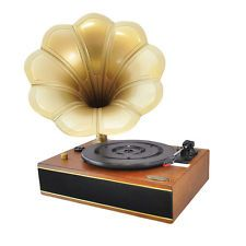 PYLE CLASSIC HORN PHONOGRAPH TURNTABLE RECORD PLAYER USB-to-PC CONNECTION AUX-IN