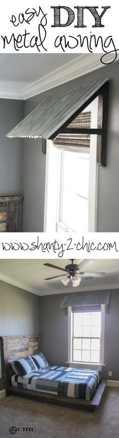Easy and inexpensive corrugated metal awning! Plus a tutorial on how to make new metal look old!: