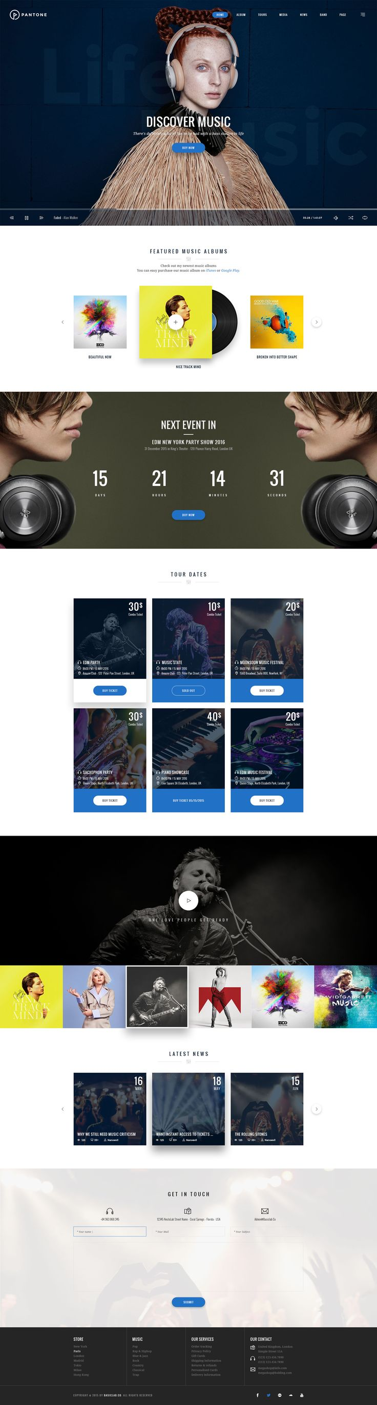 Pantone - Music & Band PSD Template #web design #unique #club • Download ➝ https://themeforest.net/item/pantone-music-band-psd-template/16148969?ref=pxcr