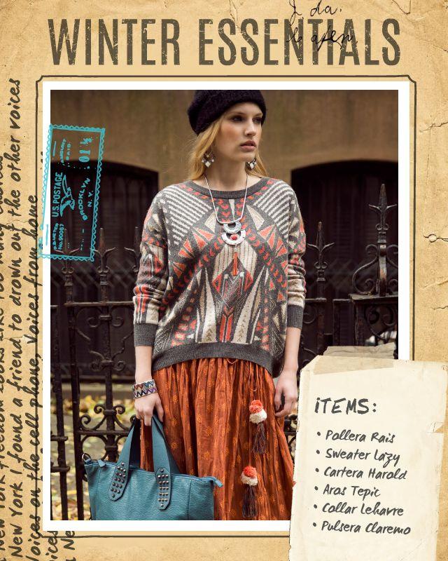 Pollera Rais / Sweater Lazy / Cartera Harold / Aros Tepic / Collar Lehavre / Pulsera Claremo #winteressentials #indiastyle