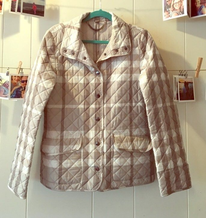 Burberry Classic Check Quilted Grey Car Coat Beautiful Layering Piece Unlined Car Coat Style Gently Preused Con Burberry Quilted Jacket Quilted Jacket Coat