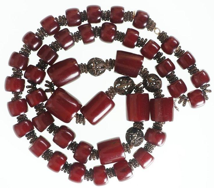 Art Deco Cherry Red Amber Bakelite Necklace Barrel Bead Faturan Tesbih 135 grams