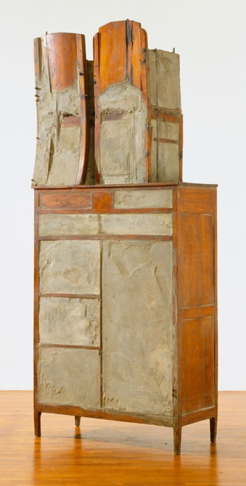 Doris Salcedo. Untitled. 1995. Wood, cement, steel, cloth, and leather