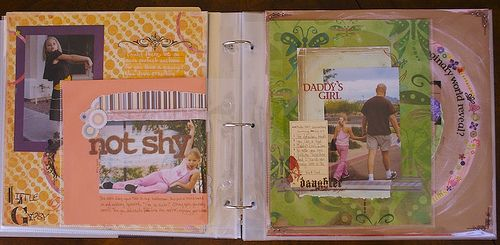 Multiple page sizes in the same American Crafts D-ring binder. Their 8x8, 8.5x 11 & 12x12 page protectors all fit the rings of the 12x 12 album. Can do journaling/scrapping pages blended with traditional photo album pages.