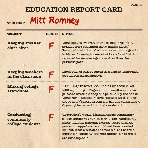 On subjects like keeping teachers in the classroom and making college affordable, Mitt Romney gets straight F's.