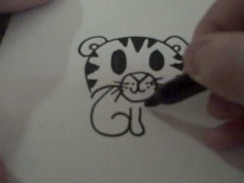 how to draw a cute cartoon tiger