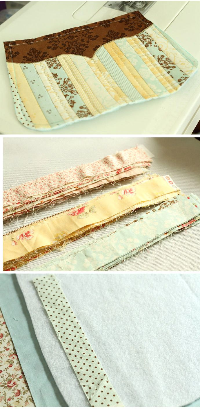 Rather fabric strip purses