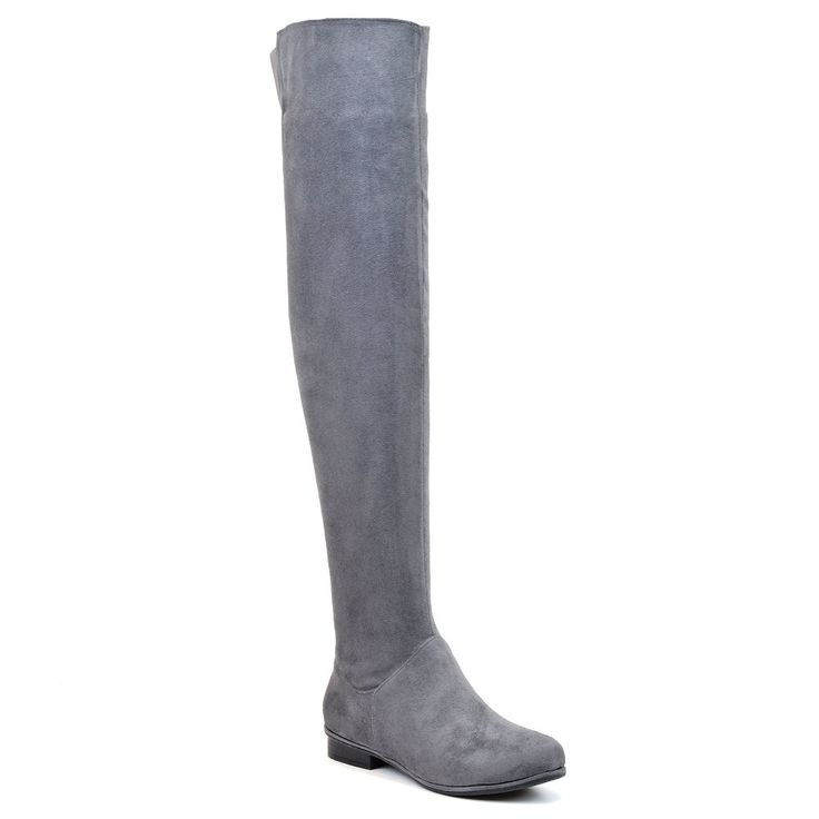 Womens Over The Knee High Flat Ladies Long Faux Suede Thigh High Boots Size  38 9 BM US Grey Faux Suede * Details can be found by clicking on the image.