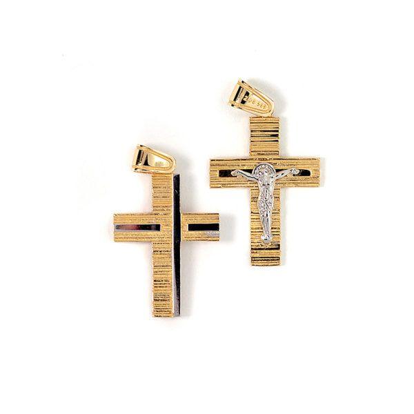 Σταυρός διπλής όψης  δίχρωμος χρυσό Κ14   7839