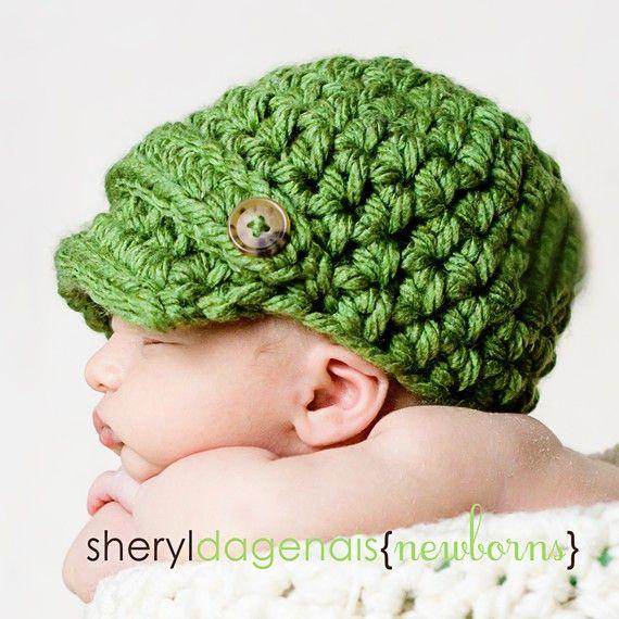 need to start crochet & knittingBaby Boys Knits Hats, Green Baby, Crafts Ideas, Kids Stuff, Crochet Hats, Baby Boys Hats, Baby Girls, Double Buttons, Crochet Pattern