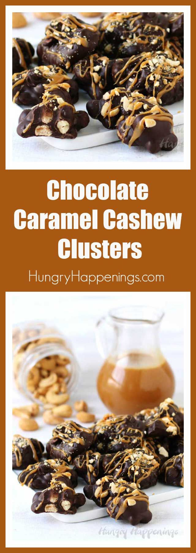 Making Chocolate Caramel Cashew Clusters at home is super easy and these handmade candies make perfect gifts or treats for any occasion.