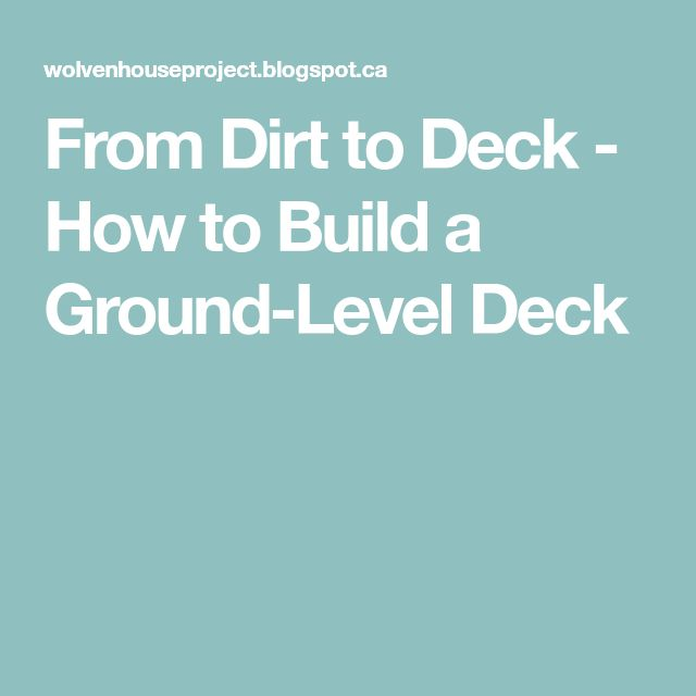 how to build a ground level deck australia