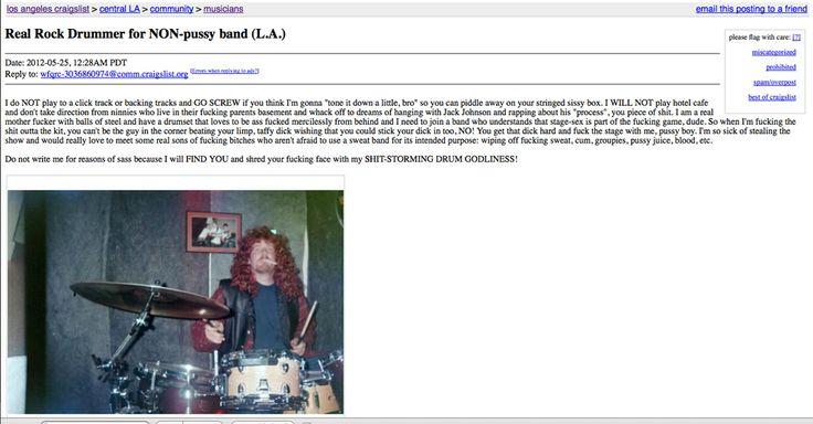 The Best Craigslist Rock Drummer Ad Ever Drummer Ads Super Ad