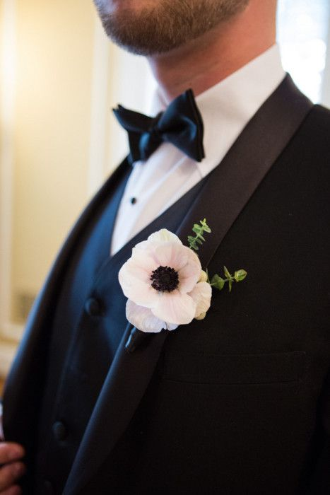 #anemones #boutonniere http://www.7centerpieces.com/chanel-inspired-styled-shoot-by-shelly-taylor/ | Shelly Taylor Photography (http://www.shellytaylorphotography.net/)
