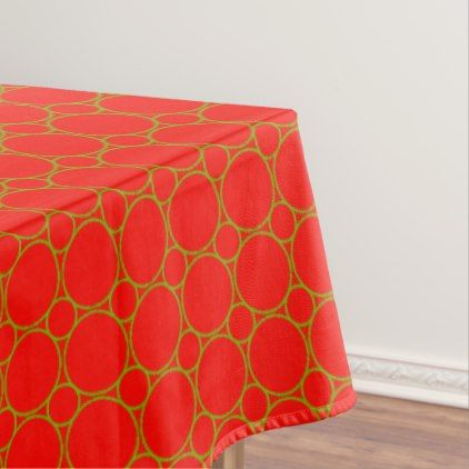 Retro Vintage Pattern Bright Green Circles on Red Tablecloth - retro kitchen gifts vintage custom diy cyo personalize