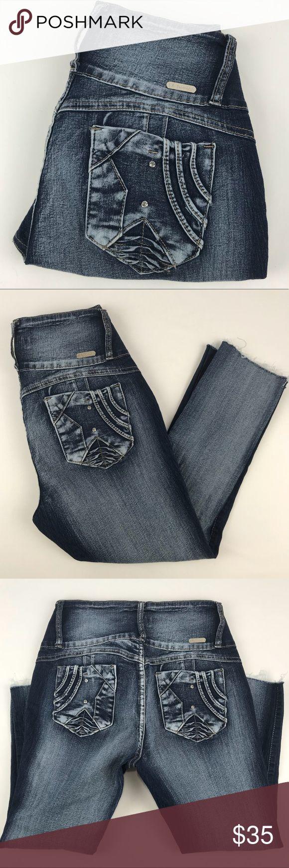 "La Bonita  Capri Hi rise Skinny cut off jeans La Bonita Hi Rise Skinny Destry wash jeans Cut to around mid calf depending on your height  4 Rhinestone Button fly with zipper closure Designed back pocket Mock front pockets   Waist 16"" Stretch to 18"" Rise 10"" Inseam 22"" Leg 6.5""   G138 La Bonita Jeans Ankle & Cropped"
