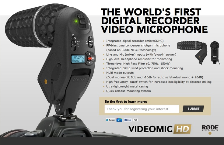 RØDE Microphones is proud to announce the release of its latest on-camera microphone, the Stereo VideoMic Pro.    Building on the success of the VideoMic Pro, which launched in early 2011 and quickly became the defacto standard for DSLR on-camera audio, and RØDE's original Stereo VideoMic, the new Stereo VideoMic Pro provides a high quality stereo option for videographers, and is ideal for recording music, and the atmospheric ambience essential in building a realistic audio sc...Stereo Videomeals, Røde Microphone, Records Music, Originals Stereo, Ambience Essential, High Quality, Early 2011, Atmosphere Ambience, Quality Stereo