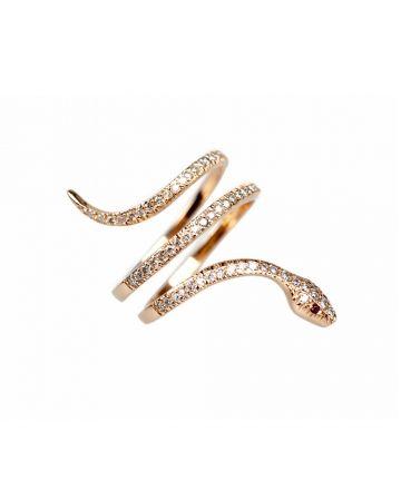 Bague serpent Snake en or rose et diamants blancs de Kismet by Milka sur LESSisRARE.fr or rose 1 800.00€