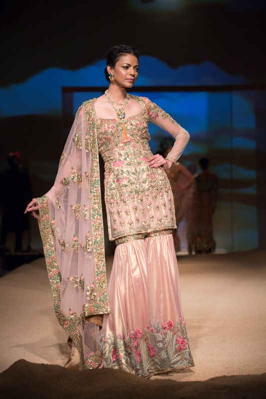 Ashima Leena sharara. More here: http://www.indianweddingsite.com/bmw-india-bridal-fashion-week-ibfw-2014-ashima-leena/