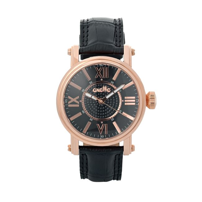 Oxette Rose gold st. steel Watch with black leather band #oxette #watch - Available online here: http://www.oxette.gr/rologia/watch-unisex-rose-gold-black-270l-1/